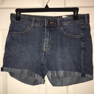Dark wash jean shorts.